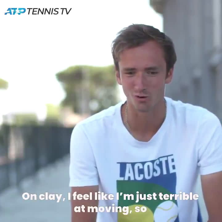 Medvedev on his movement on clay vs hard courts