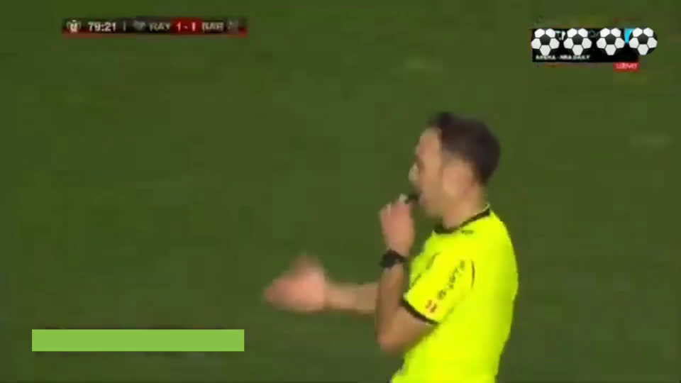 Fall on d'Floor nominee - Rayo Vallecano's Antoñín against Barcelona in last night's Copa del Rey