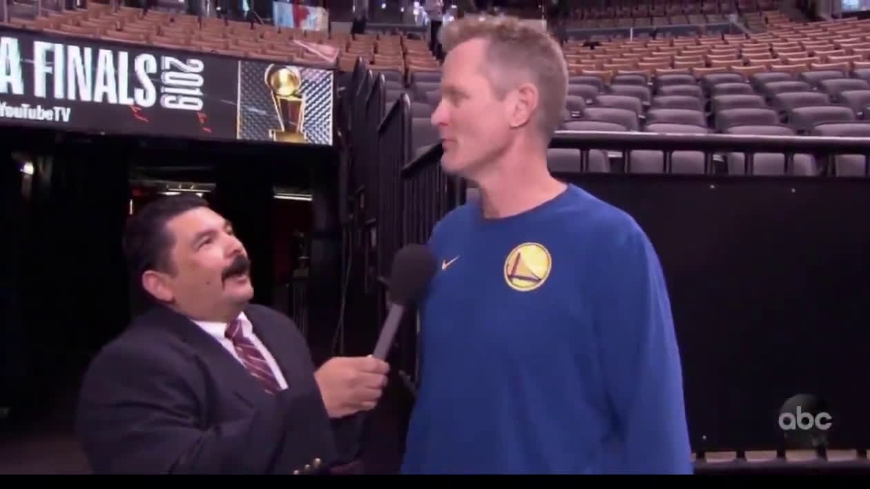 Guillermo from Jimmy Kimmel Live, asking Steve Kerr a question before the 2019 NBA Finals: