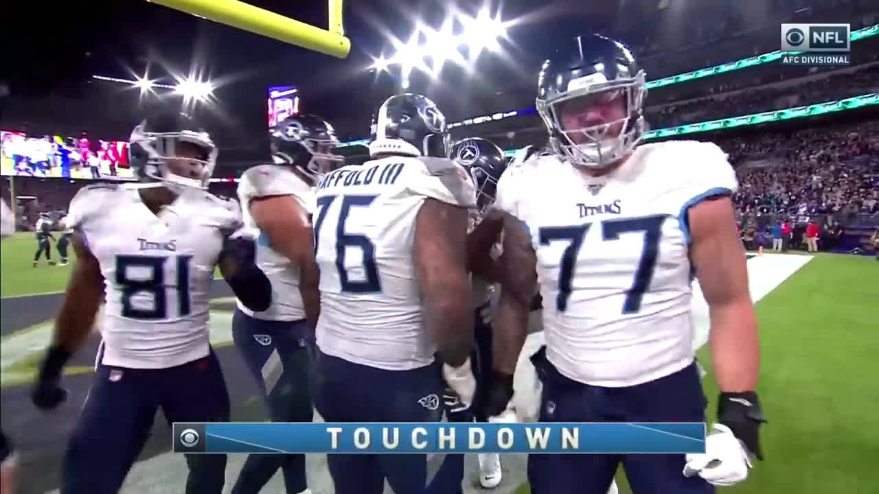 [Highlight] Today marks 66 days until the 2020 NFL Season Starts! Let's remember this Derrick Henry 66 yard run to get the Titans all the way inside the ten against the Ravens last year in the AFC Divisional Round. Later on the same drive, Henry threw a TD pass to Corey Davis. Titans win, 28-12.