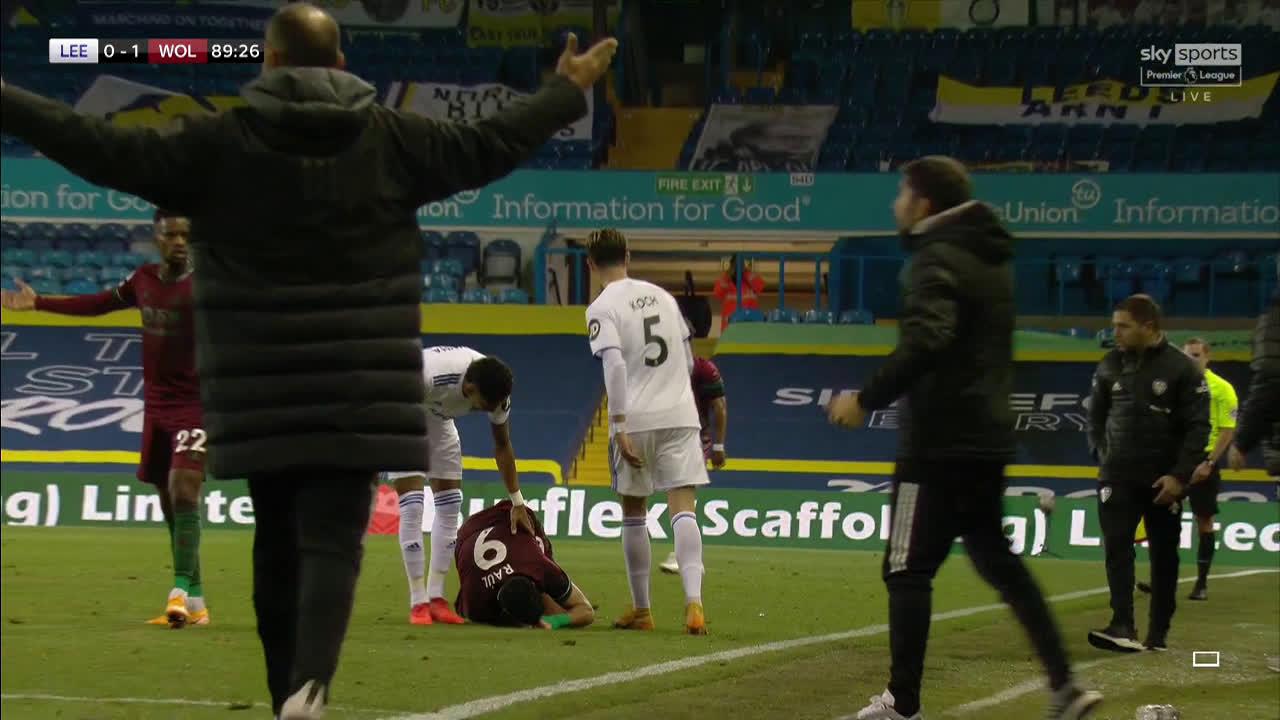 Leeds vs Wolves: Jimenez kicks out at Koch