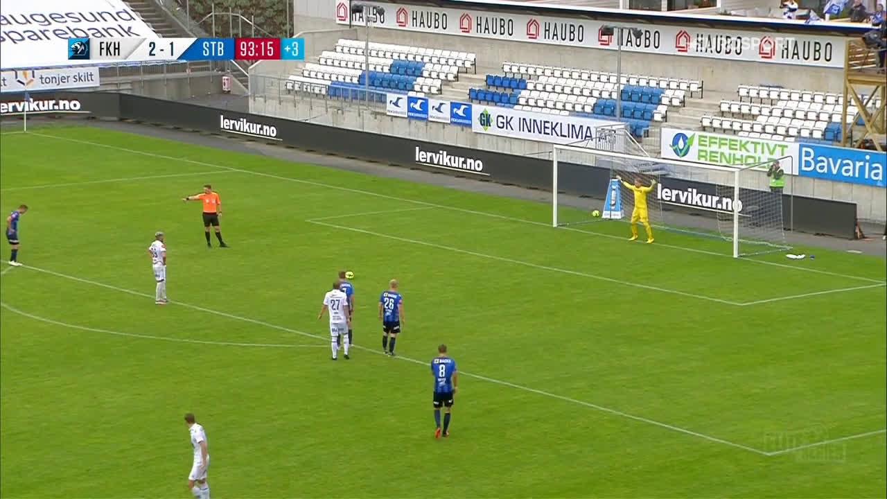 Haugesund [3]-1 Stabæk - Kristoffer Velde PK 90+4' hat-trick