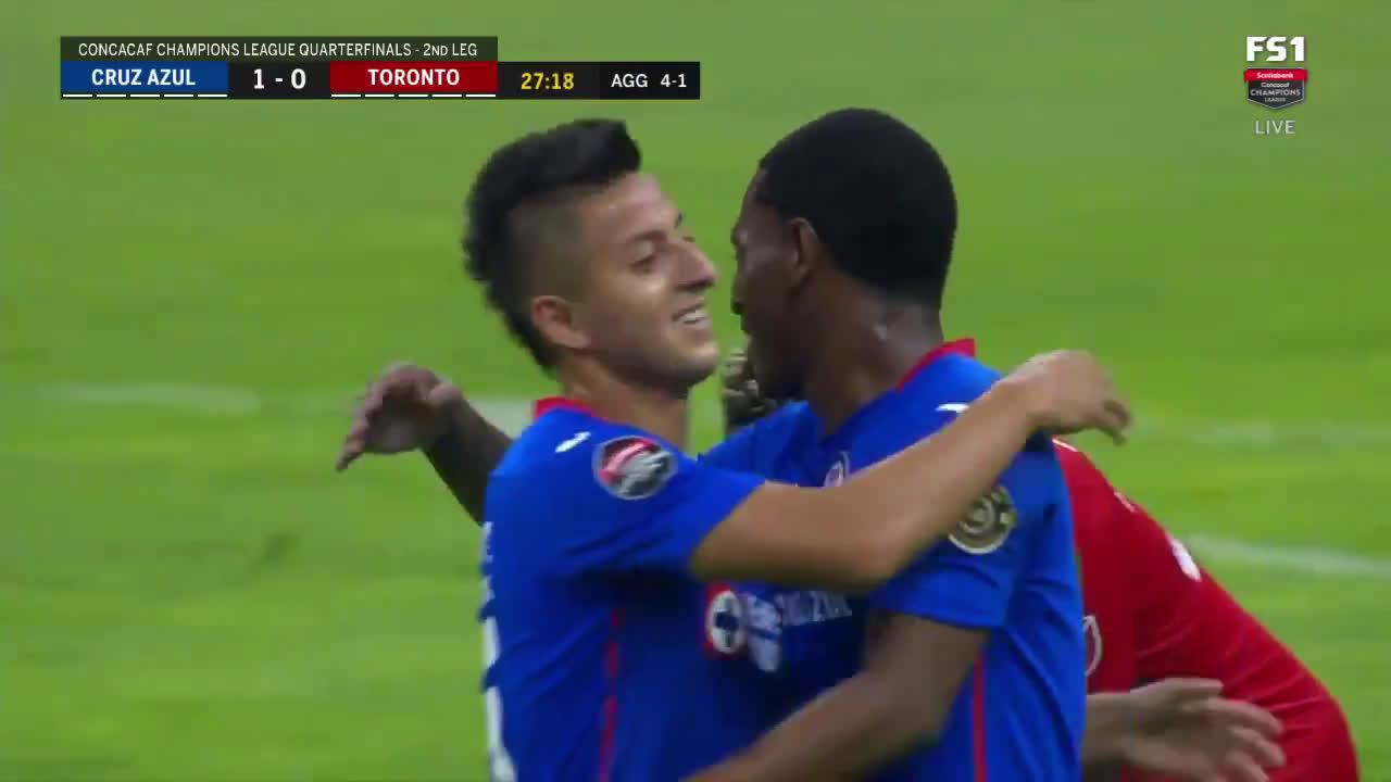 Cruz Azul [1]-0 Toronto (4-1 agg) - Bryan Angulo 27' (great goal)
