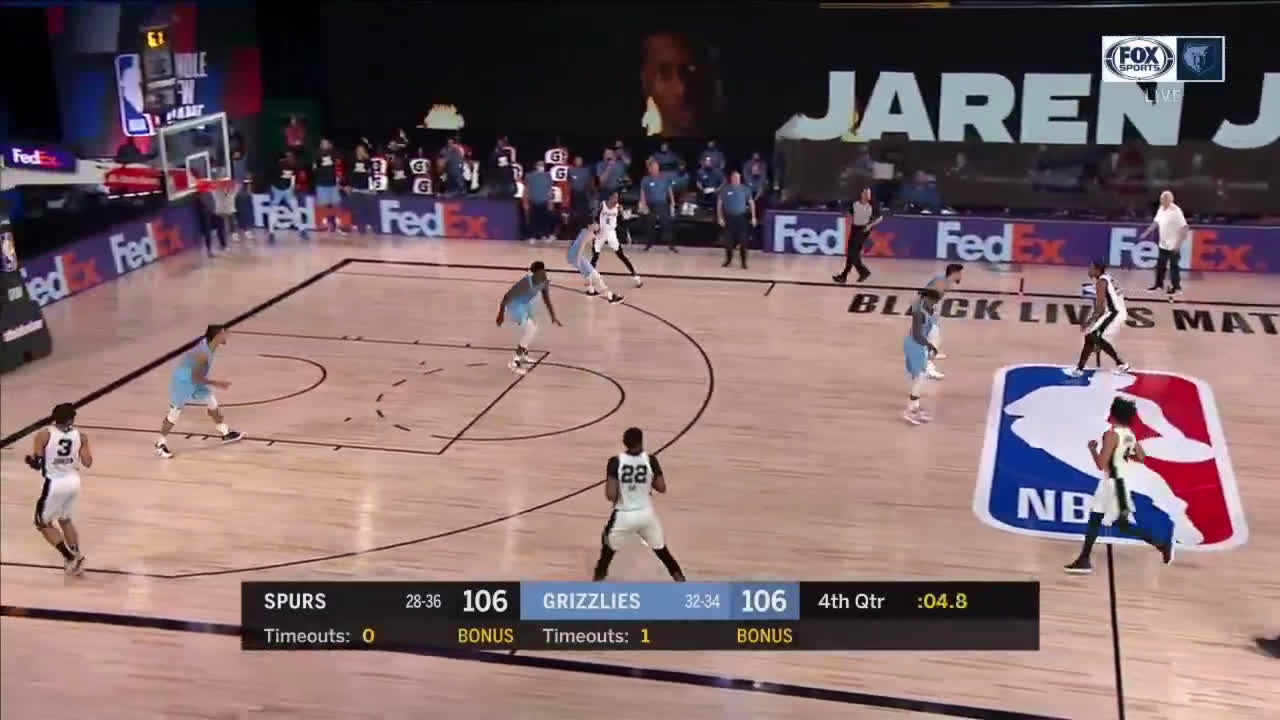 [Highlight] Jaren Jackson Jr hits the three to tie the game at 106-106 but Demar gets fouled on the other end