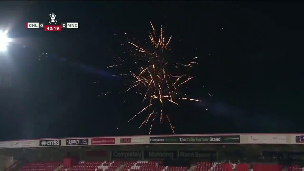 Fireworks temporarily suspend Cheltenham vs Manchester City