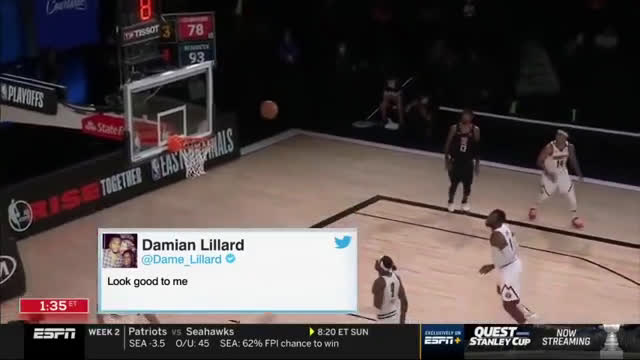 ESPN puts Dame tweet on Paul George's missed shot