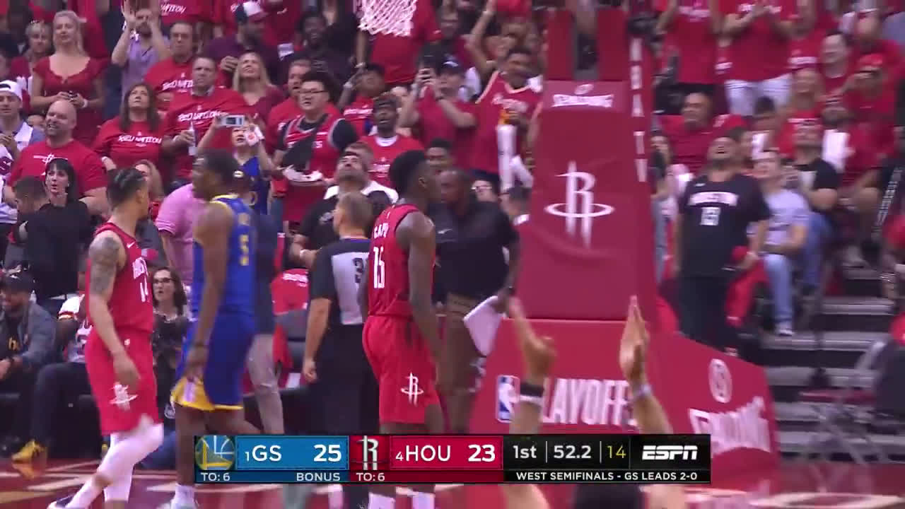 Clint Capela with a nasty two-handed dunk rejection on Andre Iguodala