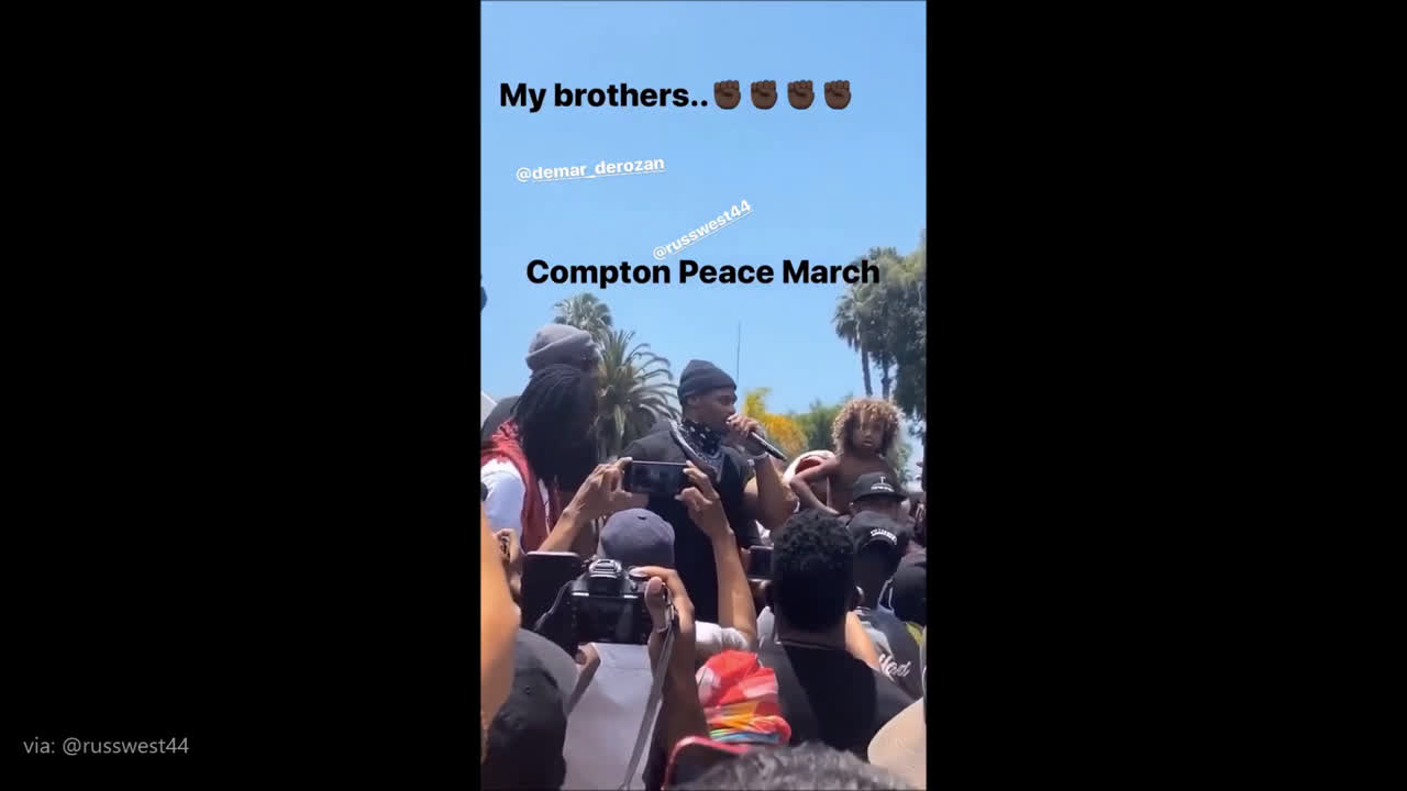 Just a month ago Russell Westbrook was leading the charge in BLM protest with massive crowd, and no mask.