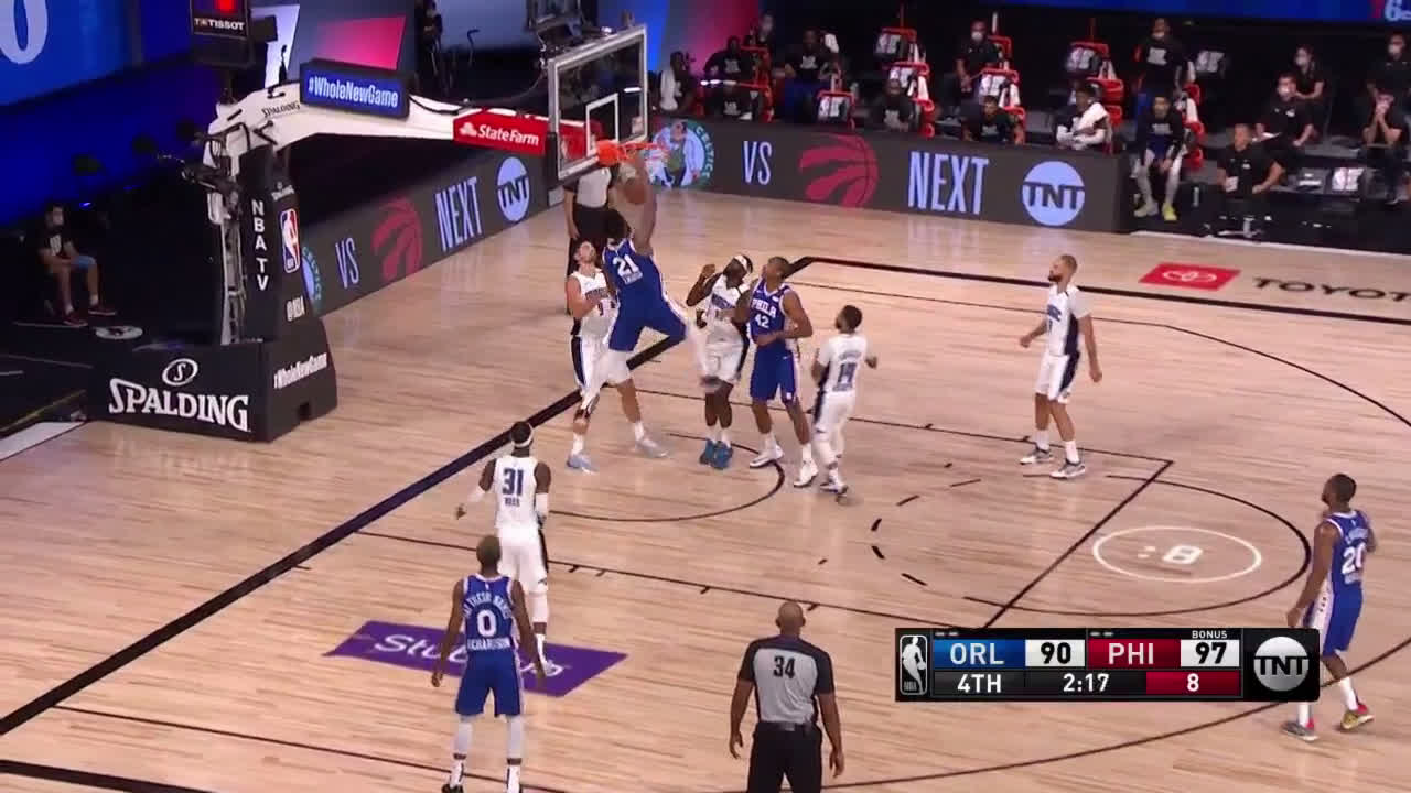 [Highlight] Joel Embiid gets by Vucevic for a sick reverse jam