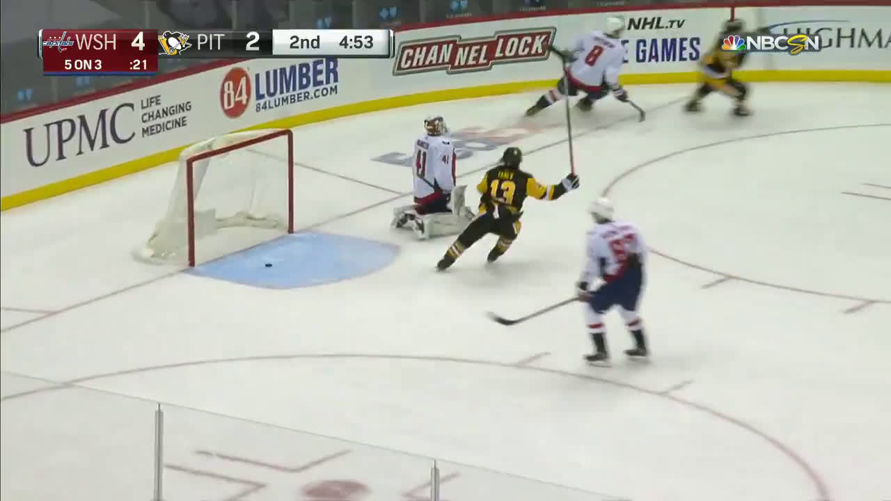 Teddy Blueger (Pens) scores a 3 on 5 goal. Goalie DeSmith assists.