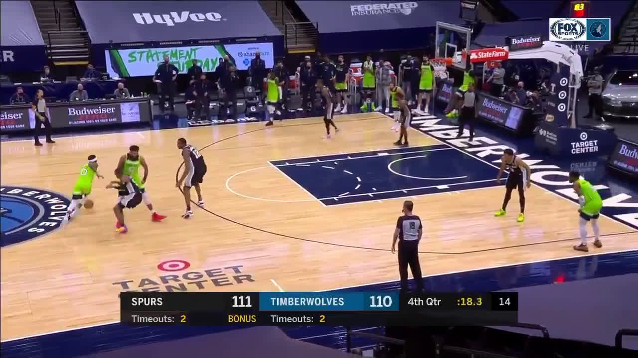 [HIGHLIGHT] DLo hits his first 3 of the game to give Wolves the lead with 15 second to go in the 4th quarter !