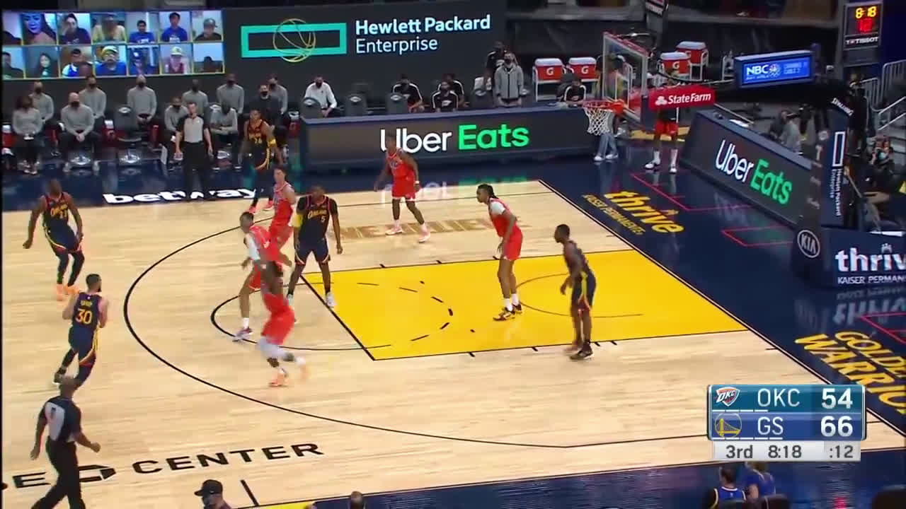 [Highlight] Wiggins gets the offensive rebound and the Warriors' nice ball movement gets him a two-handed dunk
