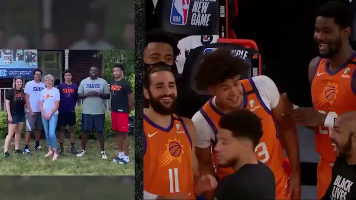 Suns' Players get introduced by their family members before the game