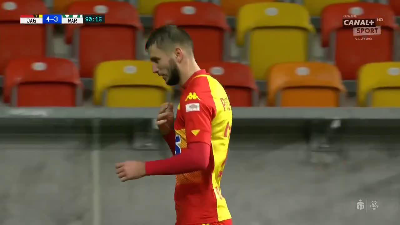 Jagiellonia Białystok [4]-3 Warta Poznań - Jakov Puljić PK 90+1' hat-trick (Polish Ekstraklasa)