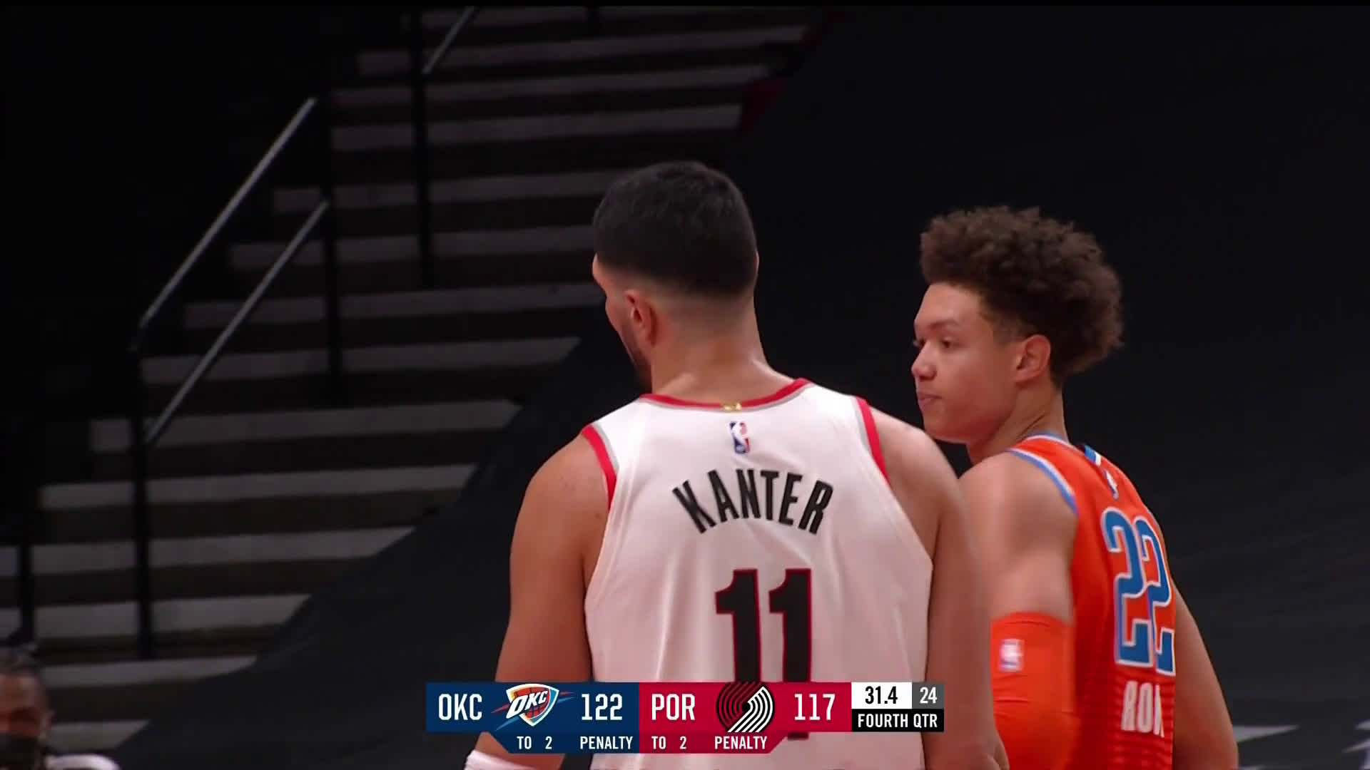 [Highlight] Anfernee misses the three but Kanter is there to catch and put it up in one motion