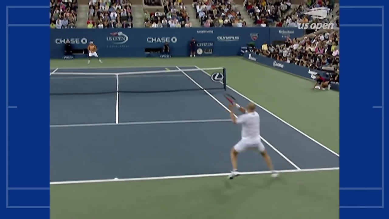 Court level point of Agassi vs. Baghdatis