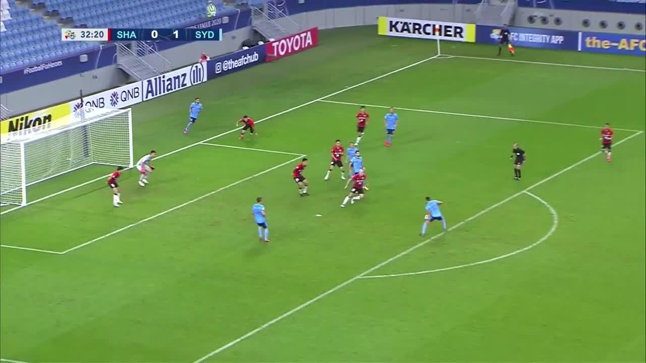 Shanghai SIPG 0-(2) Sydney FC - Luke Brattan amazing long shot goal (great goal)