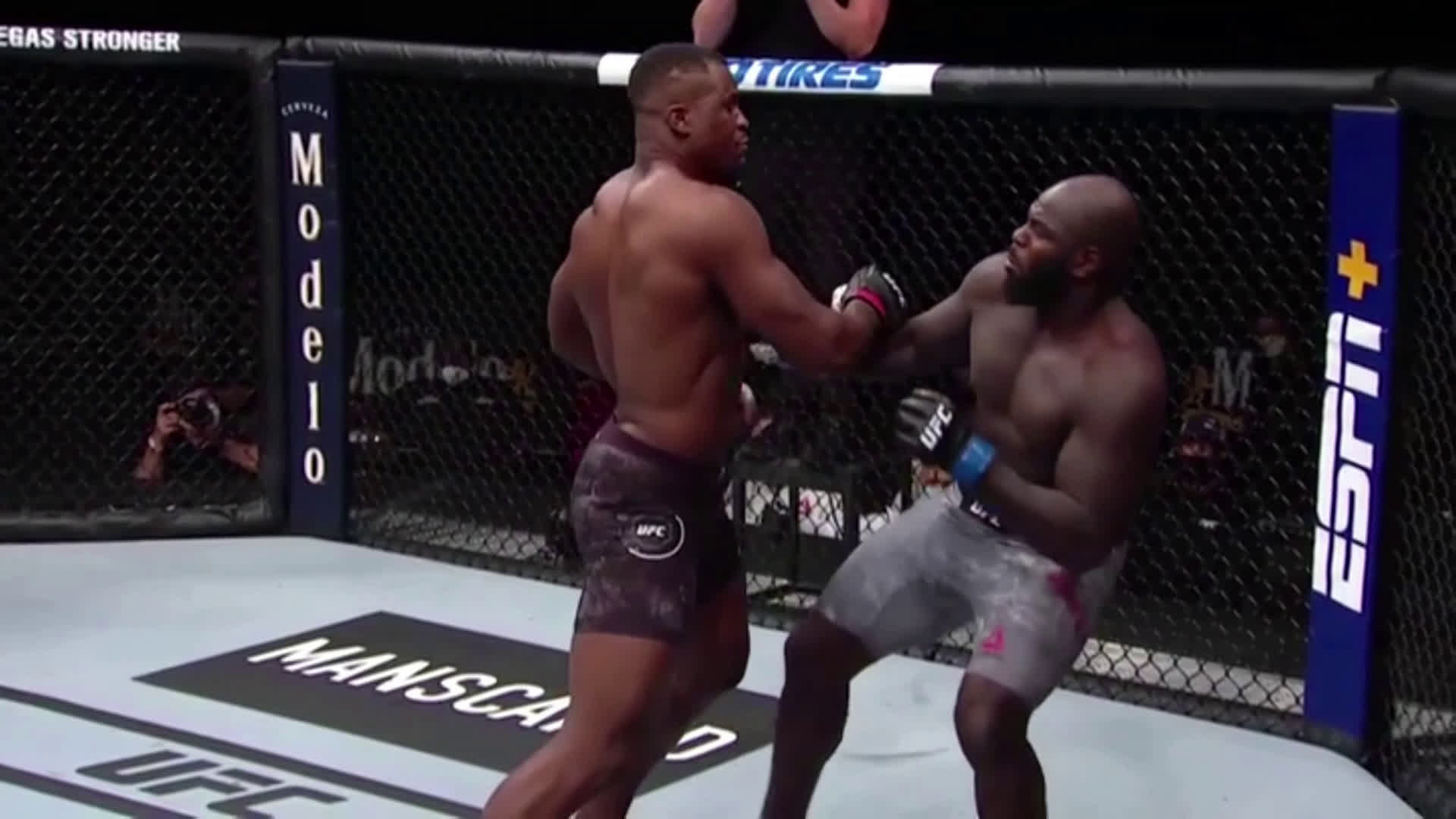 60 second slow-motion of Ngannou blitzing Rozenstruik. Also, Fleetwood Mac for some reason.