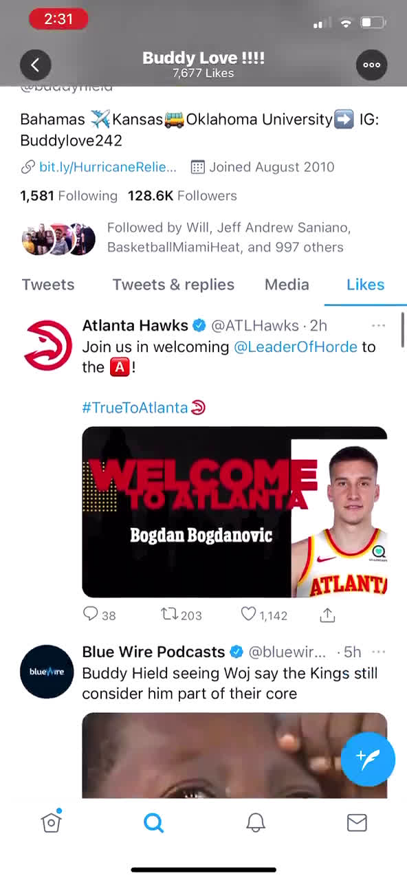 [WorldWideWob] Buddy Hield's Twitter likes are fascinating. He appears to be thrilled for Bogdan joining the Hawks, and how it bodes well for his own tenure with the Kings.