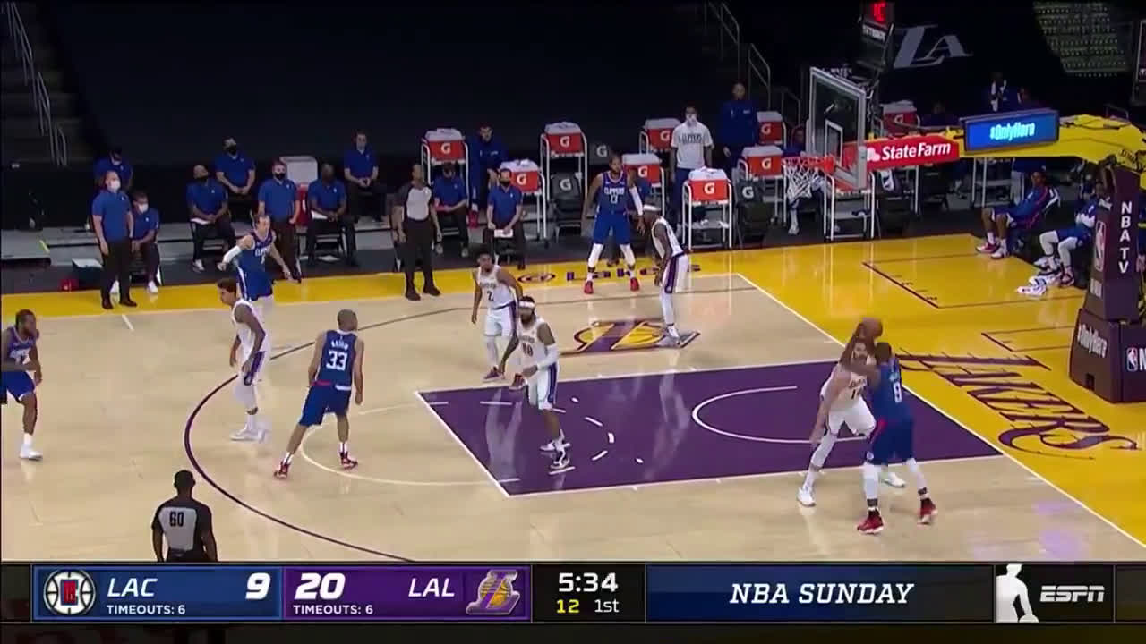 [Highlight] Marc Gasol with another great pass to a cutting Kuzma, then gets Ibaka to throw up thr airball!
