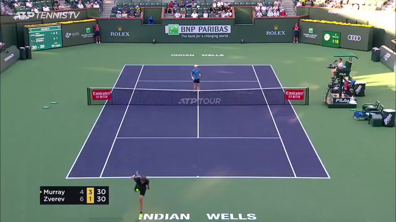 Murray disrupts the backhand exchange with a drop shot - lob combination