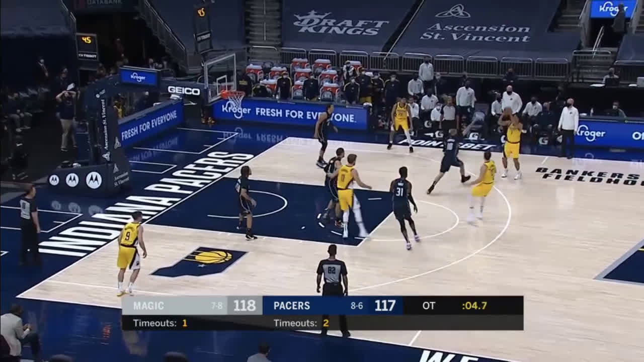 [Highlight] Brogdon drills the 3 to give the Pacers a 2 pt lead with 2.8 left
