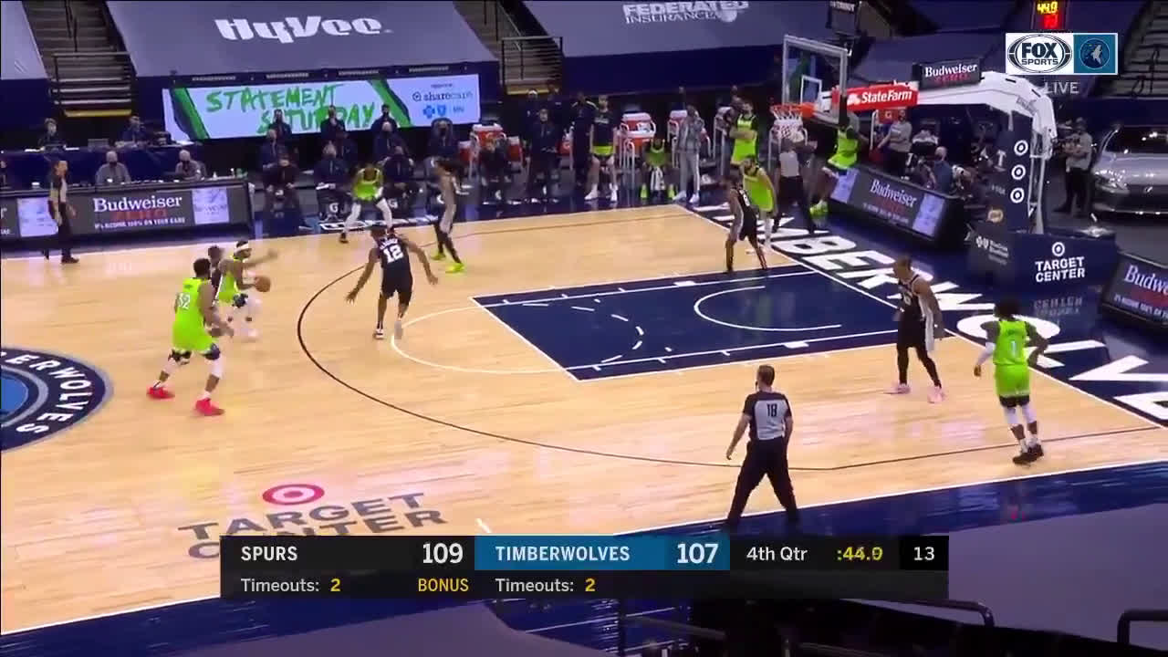 [HIGHLIGHT] KAT from downtown to give Wolves the lead with 40 seconds to go in the 4th !