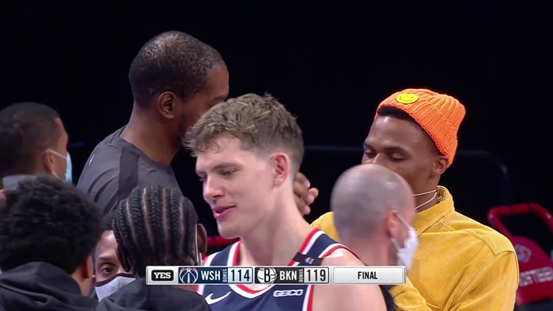 Durant and Westbrook having a chat after the Wizards @ Nets game