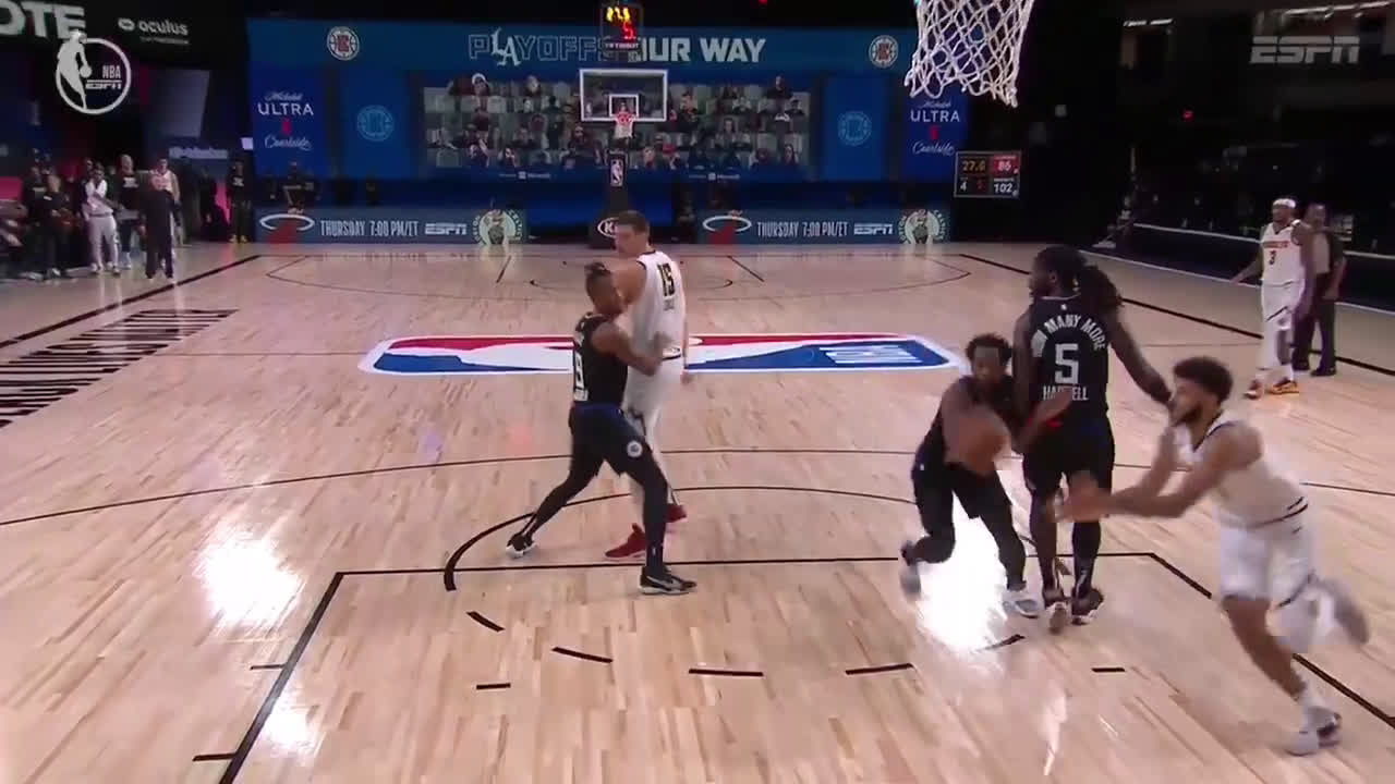 [Highlight] Patrick Beverley dangerously fouls Jamal Murray with 0:27 left in the game