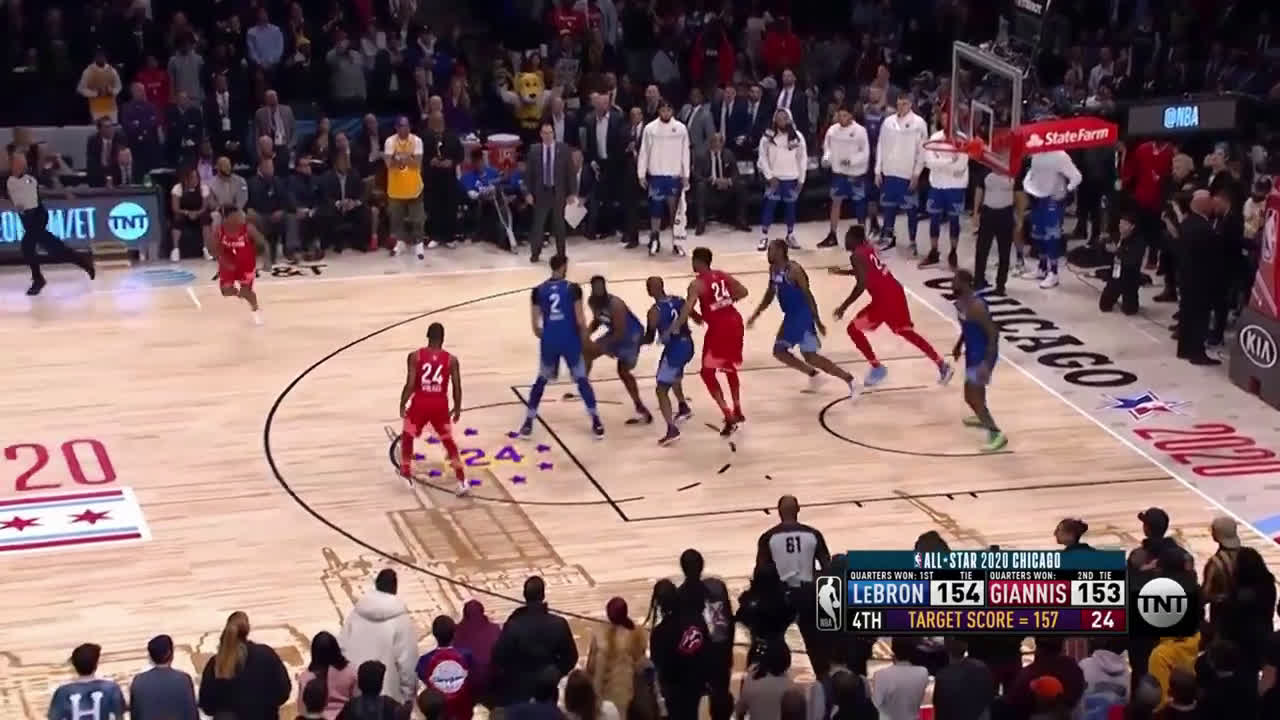 Team Giannis All Stars attack James Harden on 3 consecutive possessions, end up only scoring one point