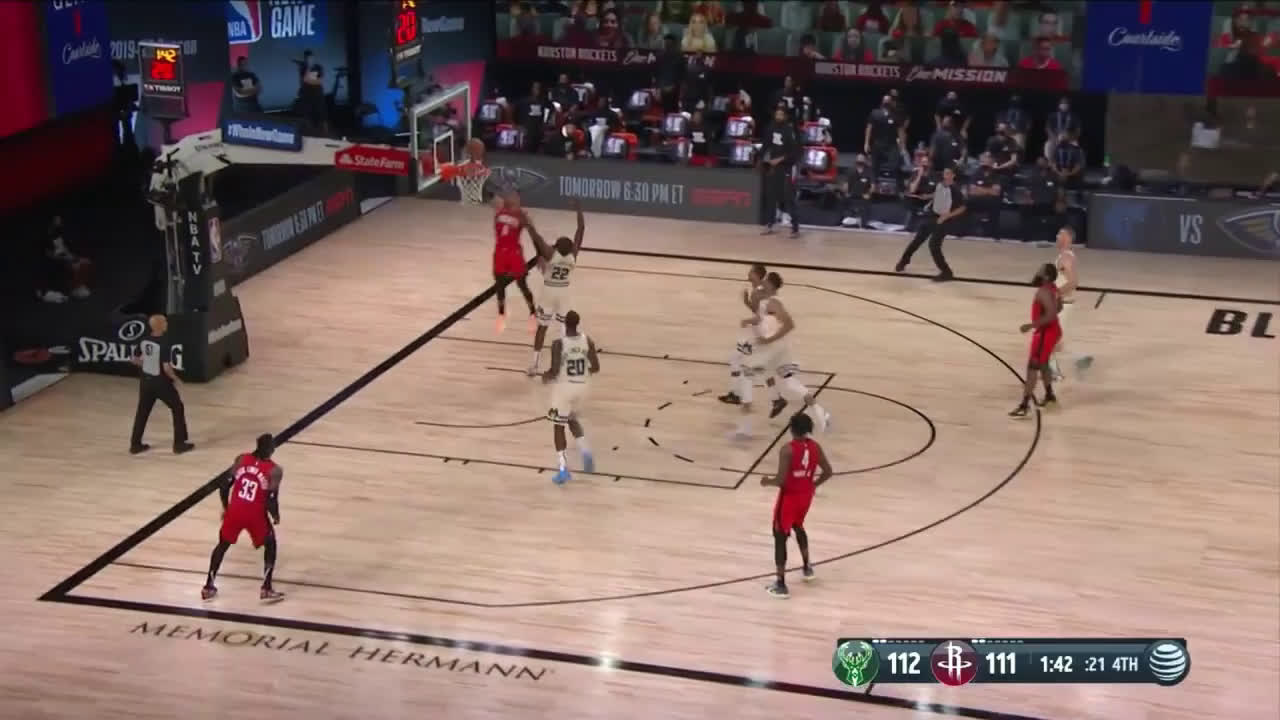 [Highlight] Compilation of Rockets late 4th quarter defense on the Bucks, including Harden clamping Giannis