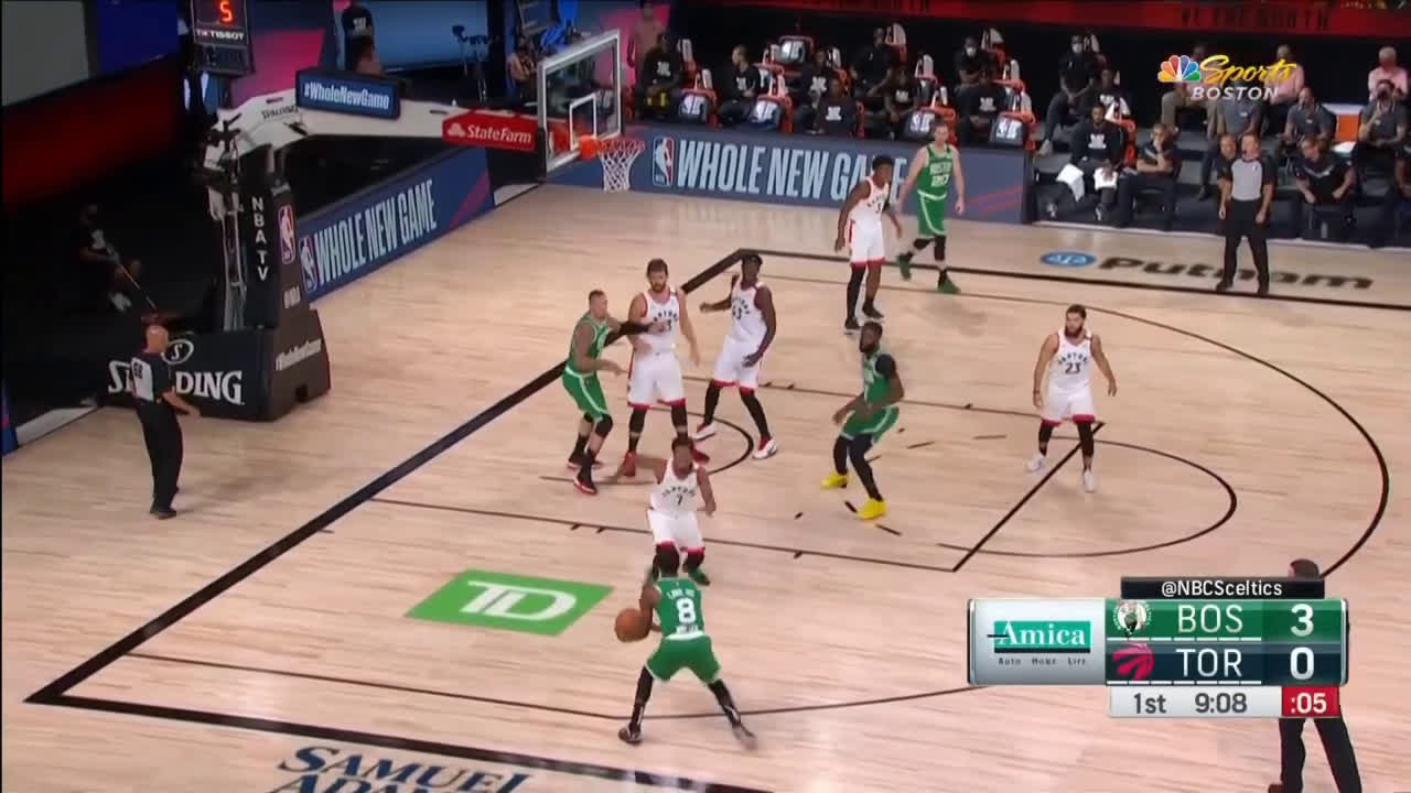[Highlight] Jaylen Brown with a step back three to beat the buzzer and save the possession