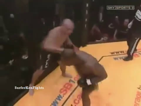 In one of the most fast-paced fights in MMA history an exhausted Melvin Manhoef finally finishes an exhausted Cyborg Santos.