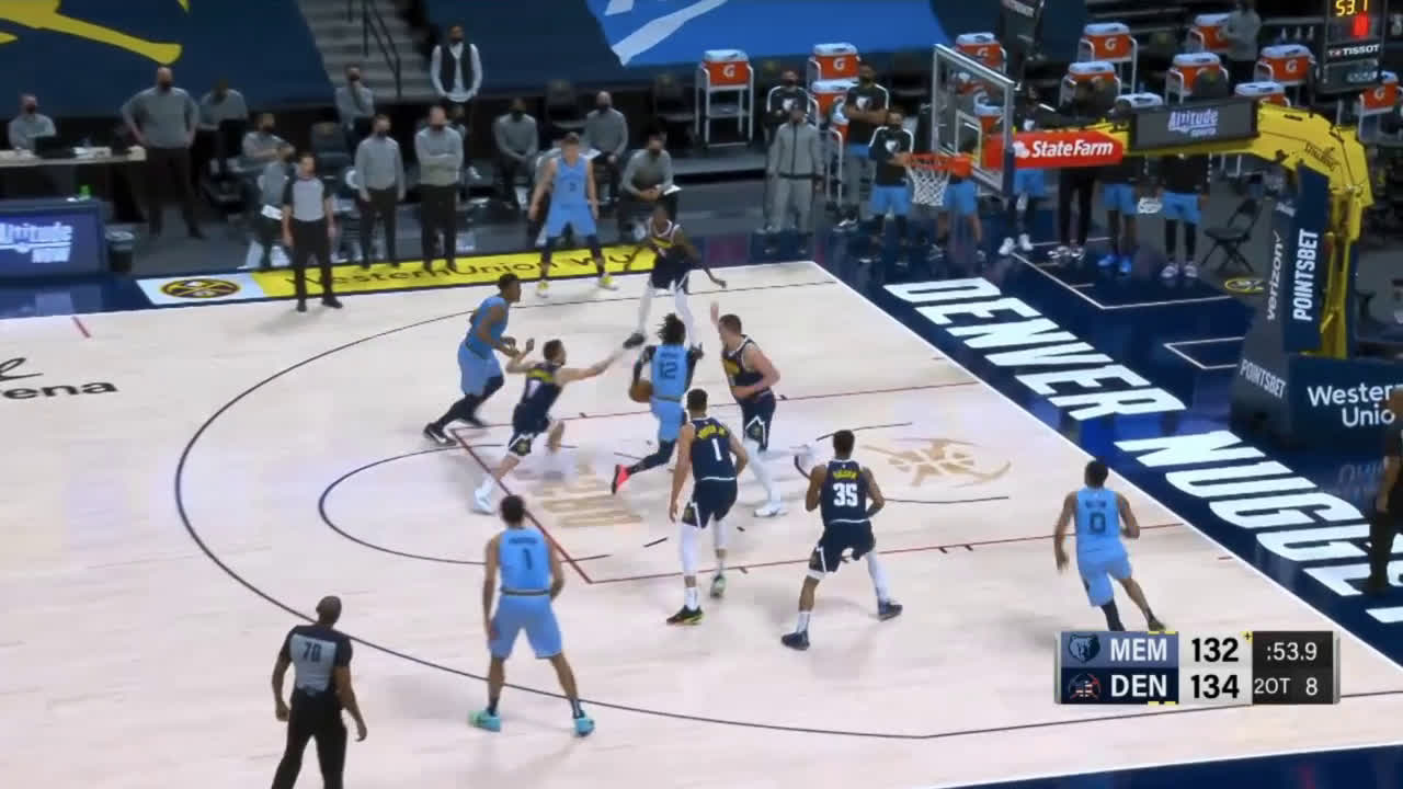 [Highlight] Ja Morant cuts through the Nuggets to give him 36