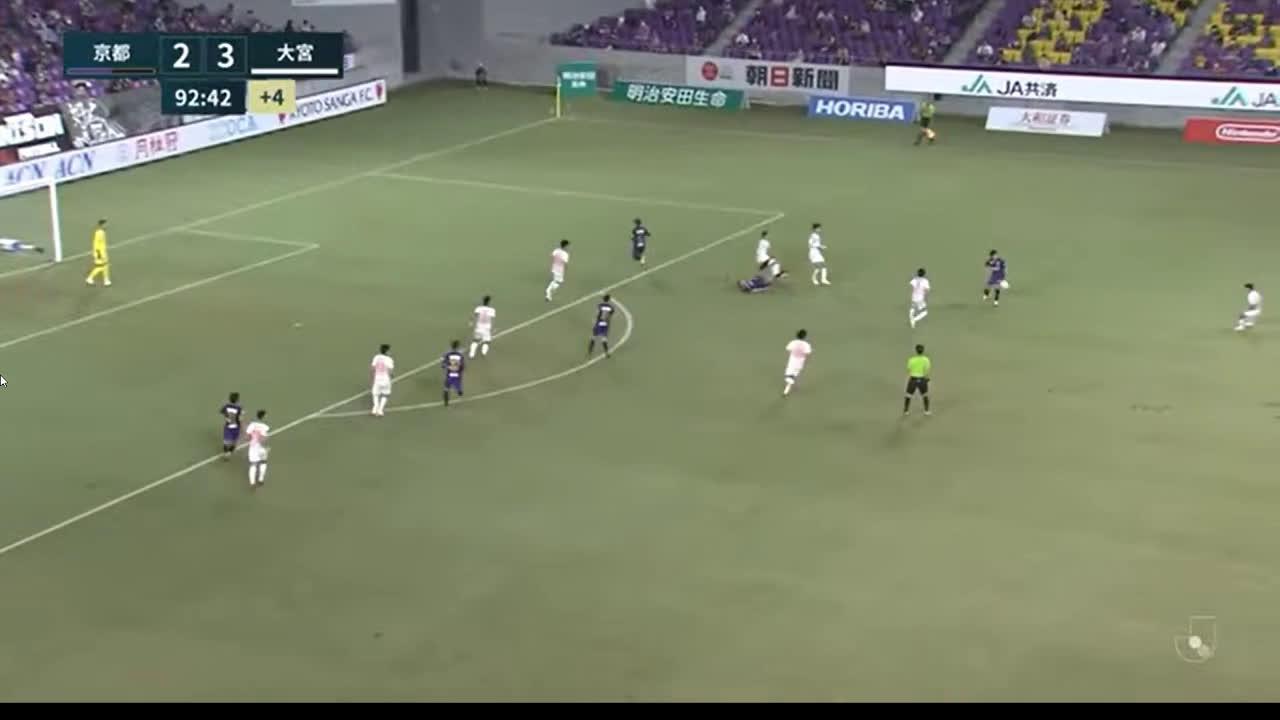 Kyoto Sanga 2-(4) Omiya Ardija - Kanji Okunuki goal from halfway line