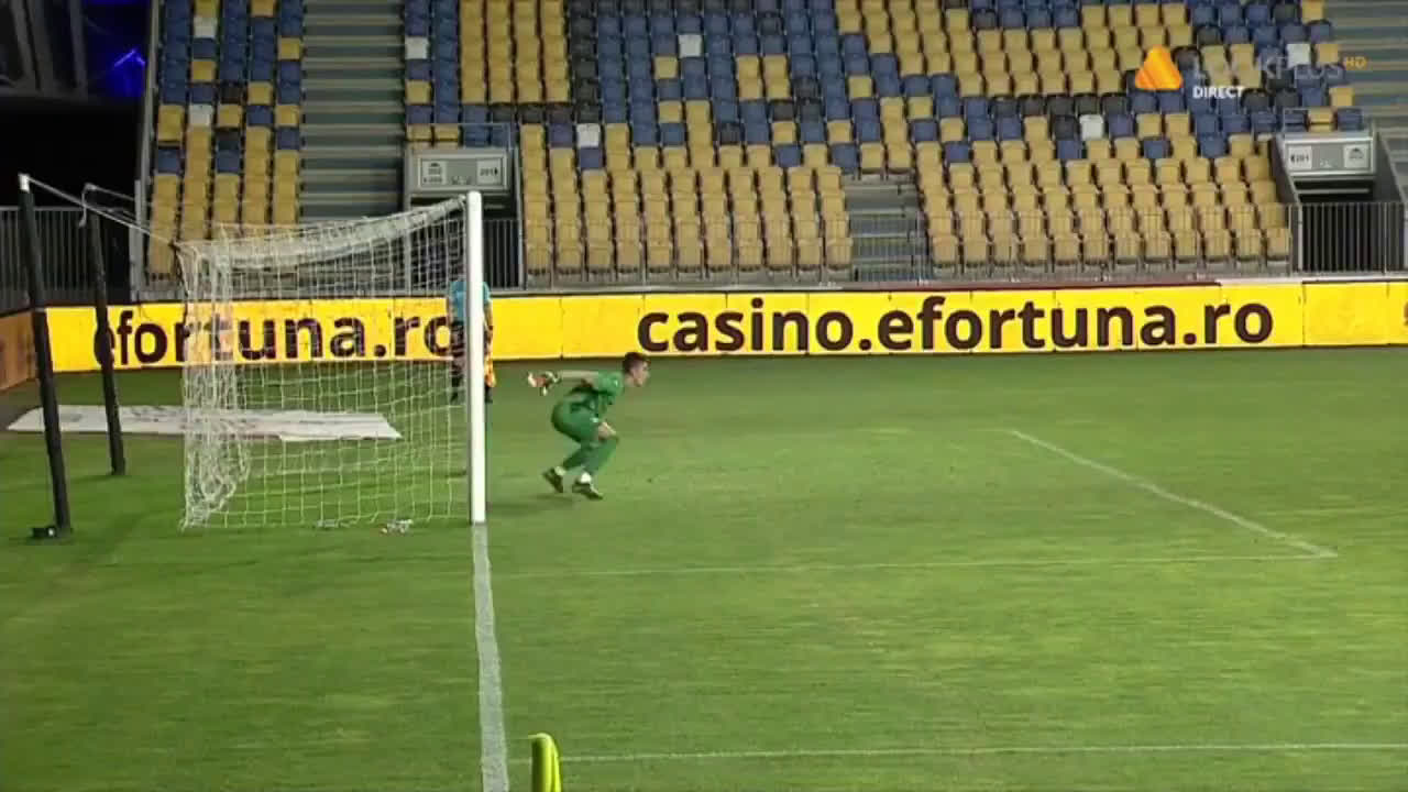 [Romanian Liga II] Petrolul Ploiești missed 3 penalties vs. Rapid București. Two of them were retakes. Rapid's keeper was sent off for leaving his line TWICE. The third penalty was sent over the crossbar.