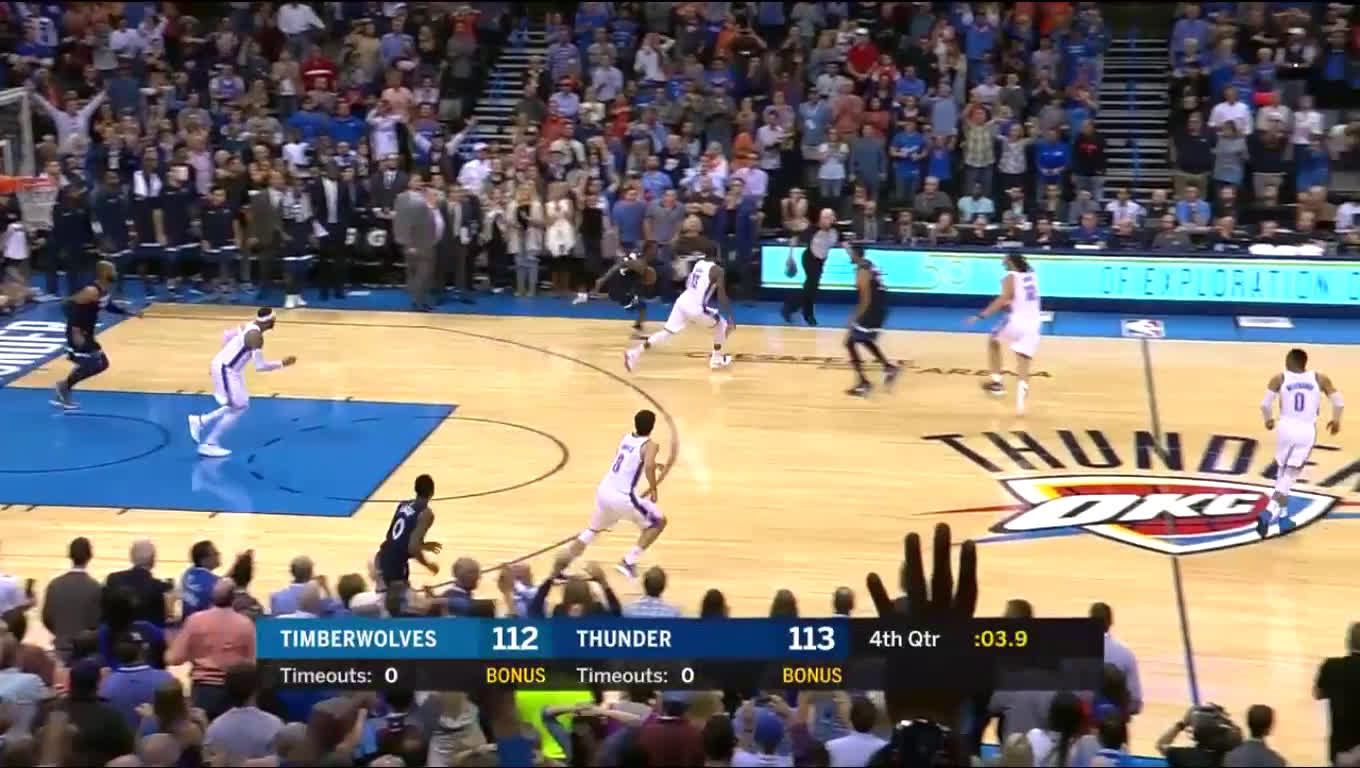 After a clutch 3 from Carmelo Anthony, Andrew Wiggins comes back and buries a 3 at the buzzer to give the Timberwolves the win over OKC