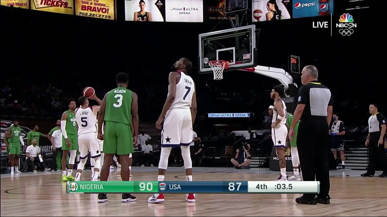 [Highlight] LaVine misses the clutch free throw, securing a shocking upset by Nigeria against USA, who had been 39-0 in their last three Olympic seasons and pre-Olympic exhibitions.