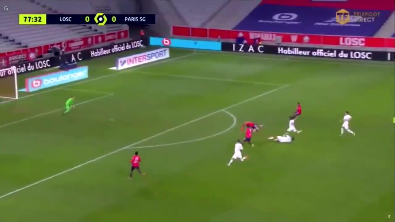 PSG 0- 0 LOSC. Presnel Kimpembe 4 vs 1 tackle on Yilmaz. 78'