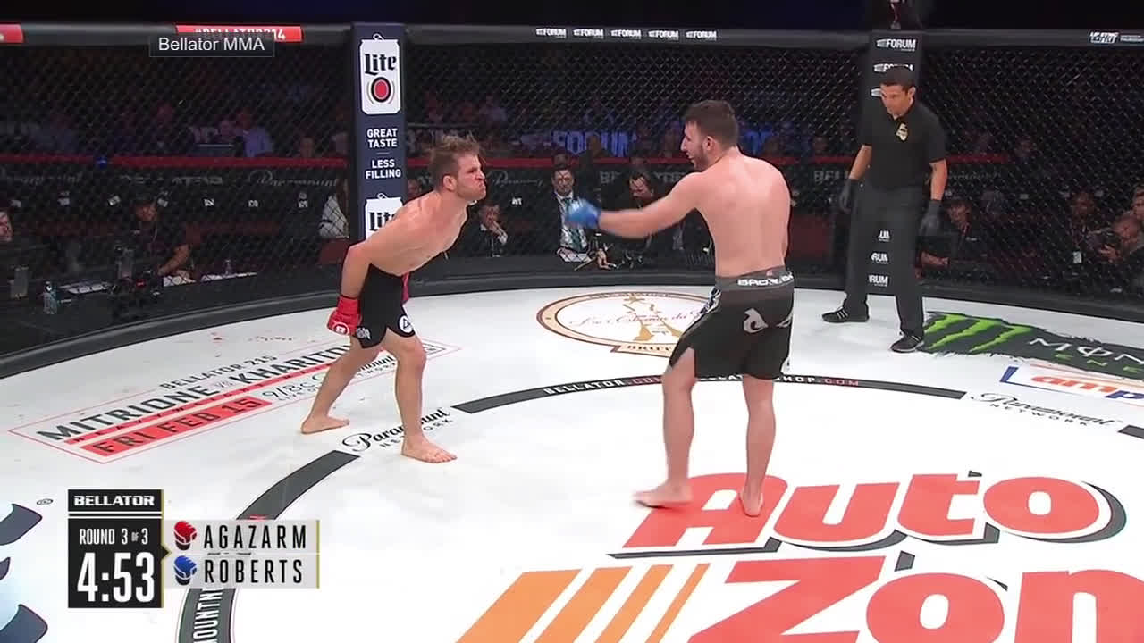 AJ Agazarm mean mugs Jesse Roberts at Bellator 214