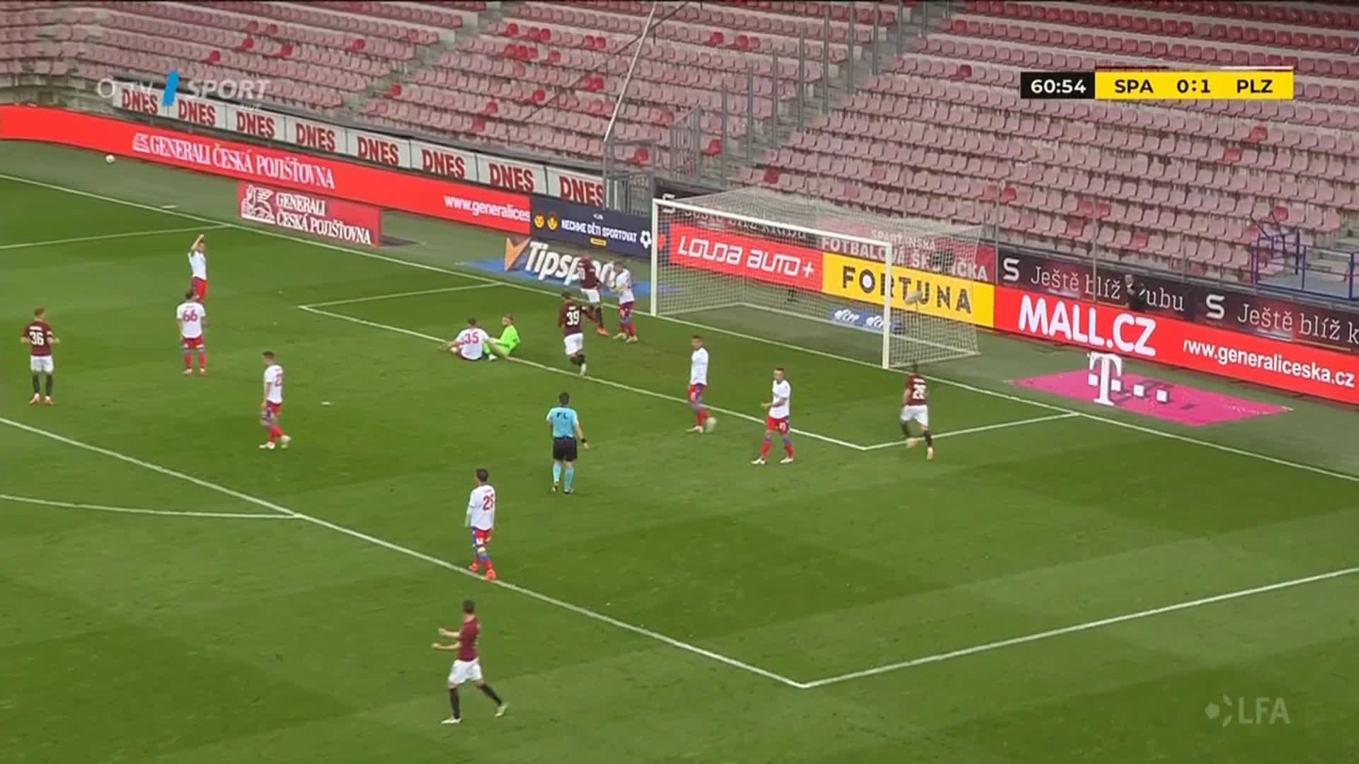 AC Sparta Prague [1] - 0 FC Viktoria Pilsen - Adam Hložek 61'