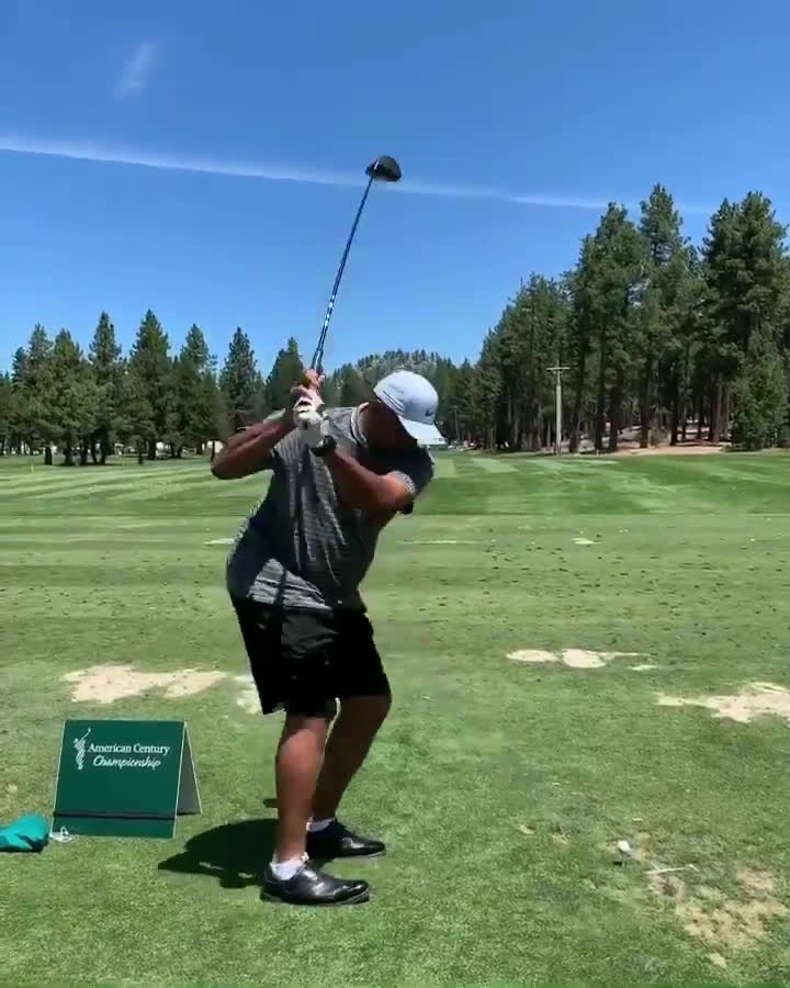 I know we're in the middle of the NBA Finals but Charles Barkley significantly improved his golf swing.