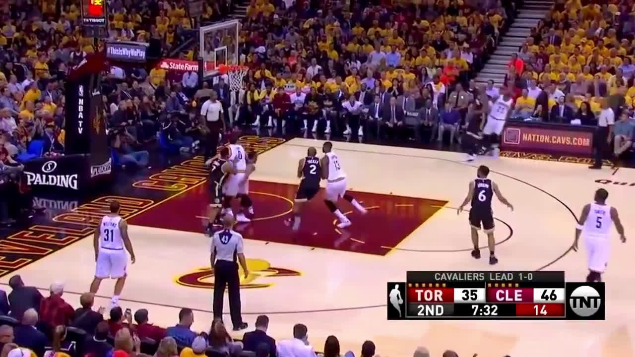 LeBron spins the ball in Ibaka's face twice and nails the 3. Then comes right back down the court and nails another one!