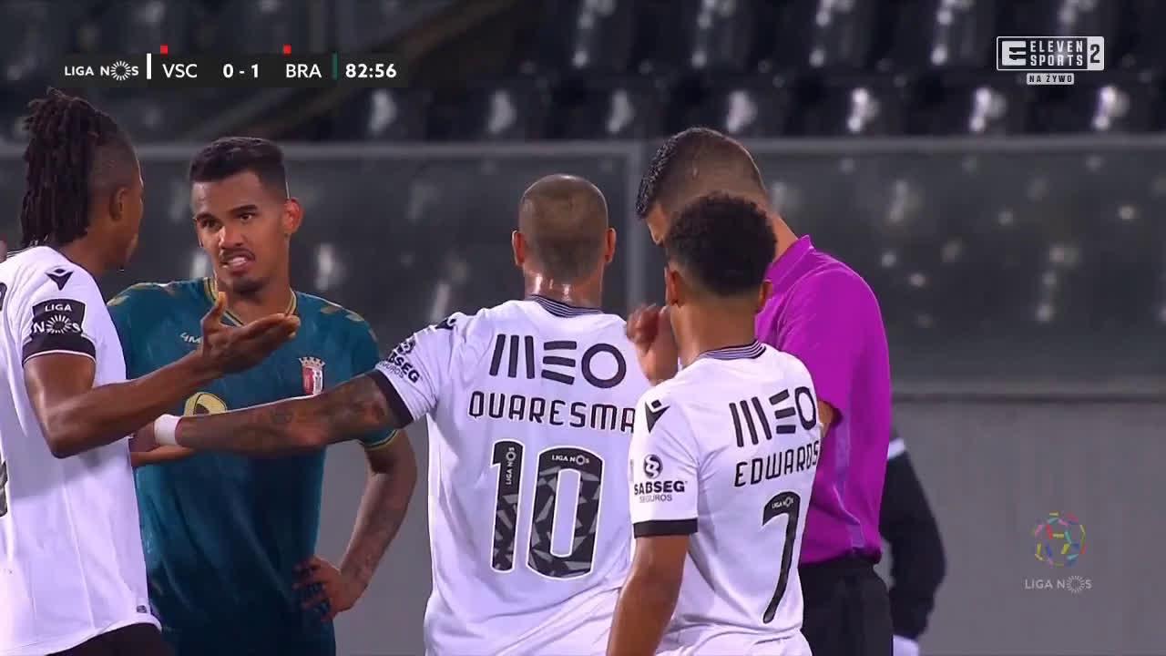 David Carmo, Fransérgio (Braga) & Jorge Fernandes (Vitória SC) red cards 82-85'