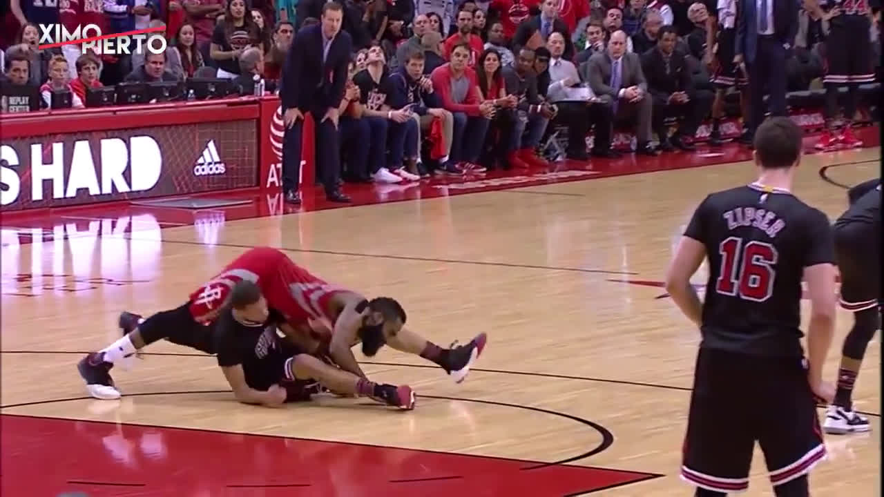 James Harden decided to lay on top of MCW and gets a foul call.