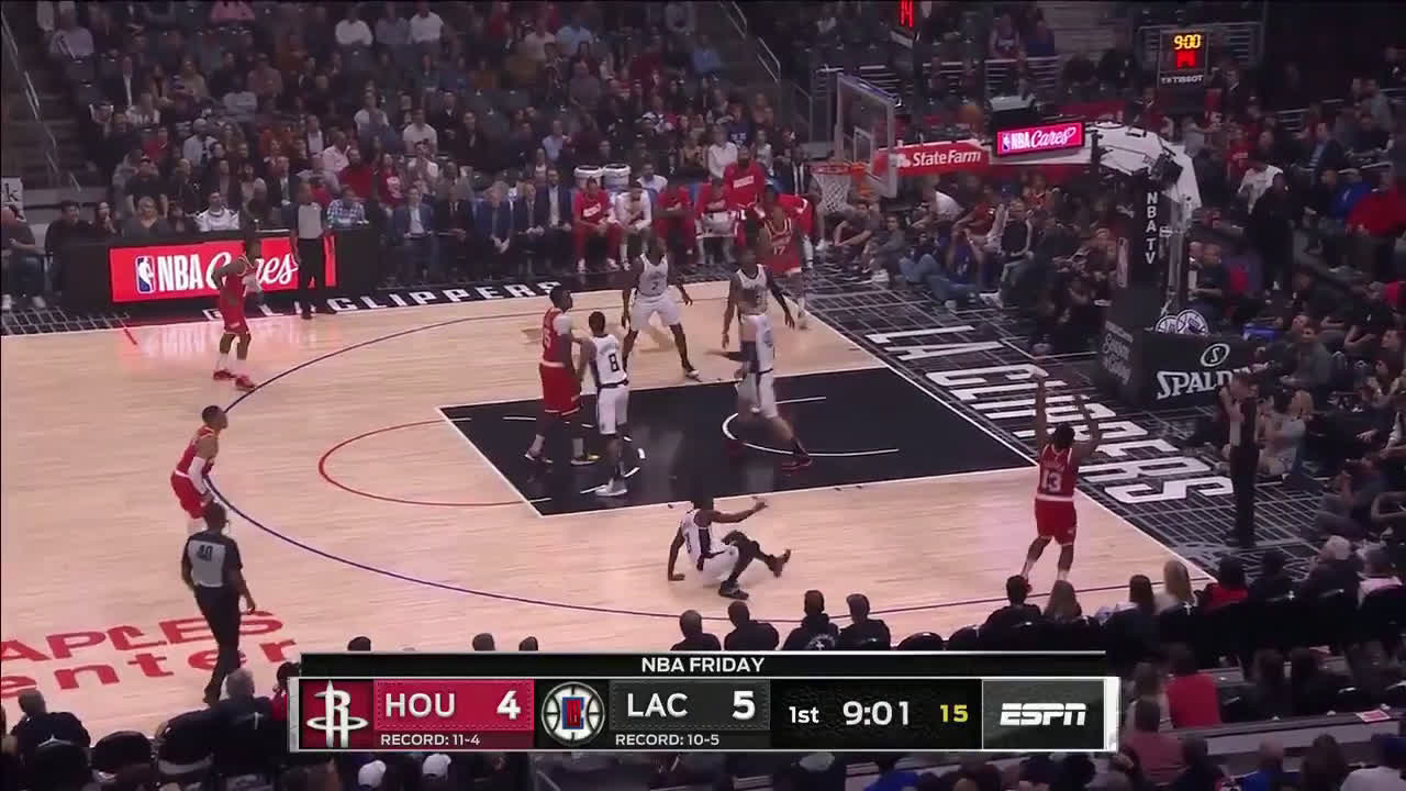 Patrick Beverly is hit by a sniper mid game