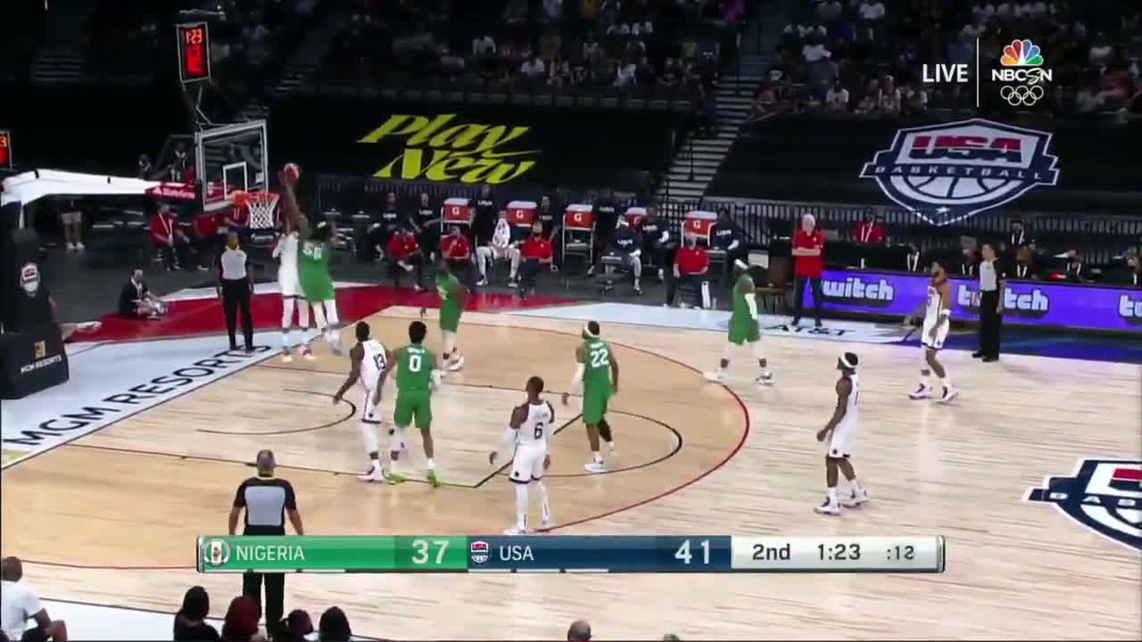 [Highlight] Precious Achiuwa absolutely rejects Kevin Durant's dunk attempt!