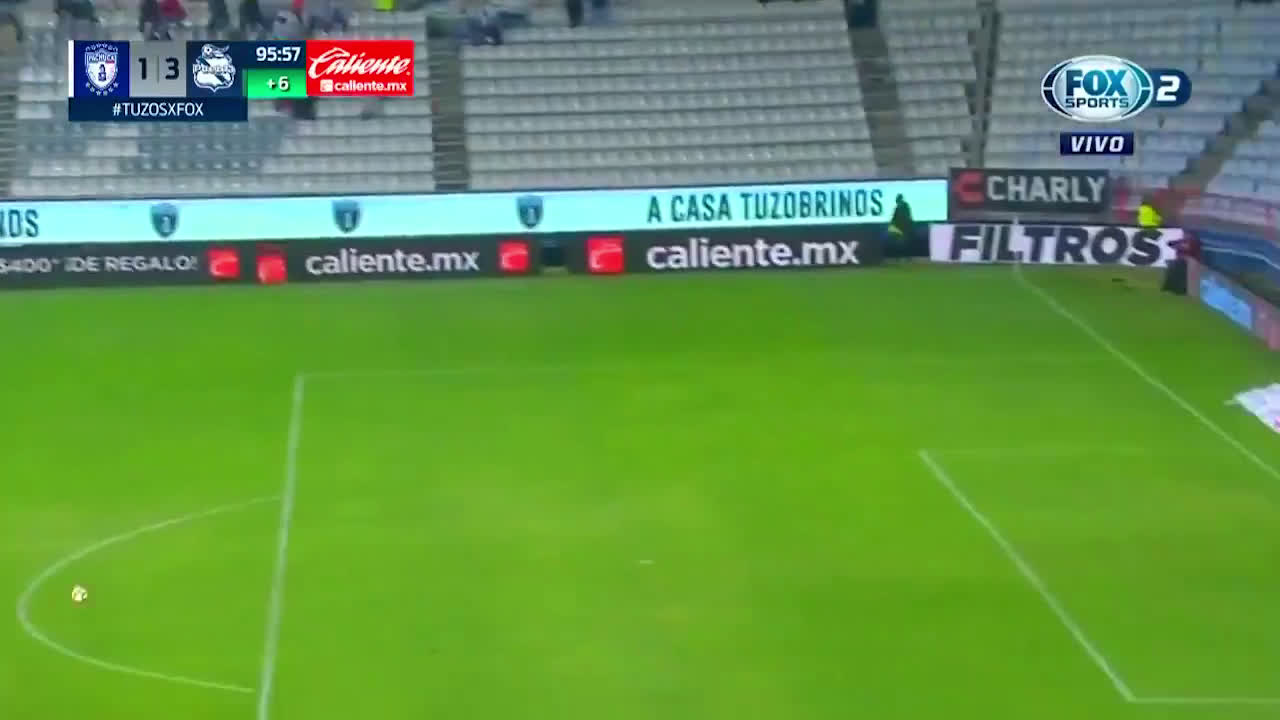 Pachuca 1-[3] Puebla 90+6': Salvador Reyes goal from outside of his own box