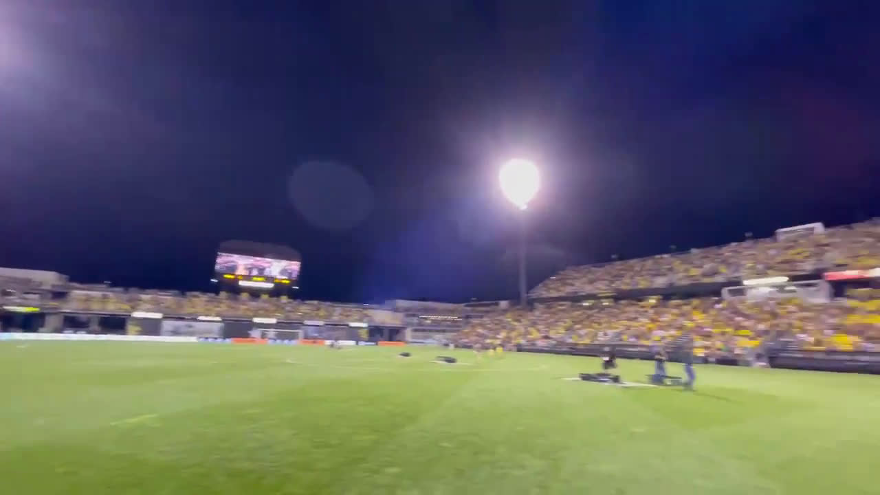 Columbus Crew players and fans sing together as they say goodbye to Historic Crew Stadium