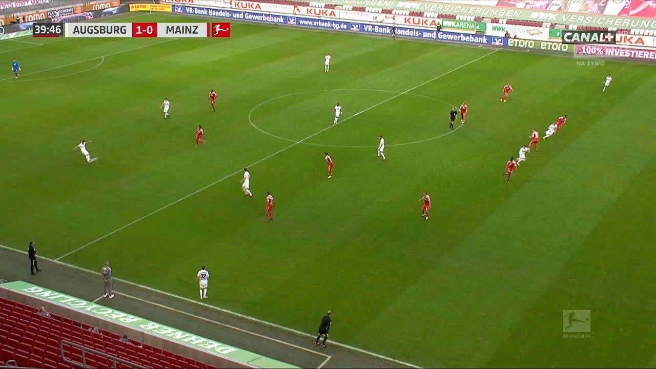 Augsburg 1-0 Mainz - Ruben Vargas 40' bicycle kick